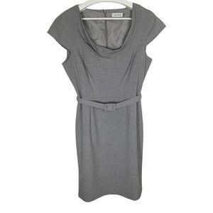 Calvin Klein Womens Dress Size 12 Sheath Gray Belt